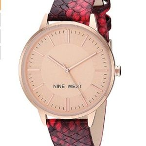 Rose Gold-Tone and Burgundy Snake Patterned Strap